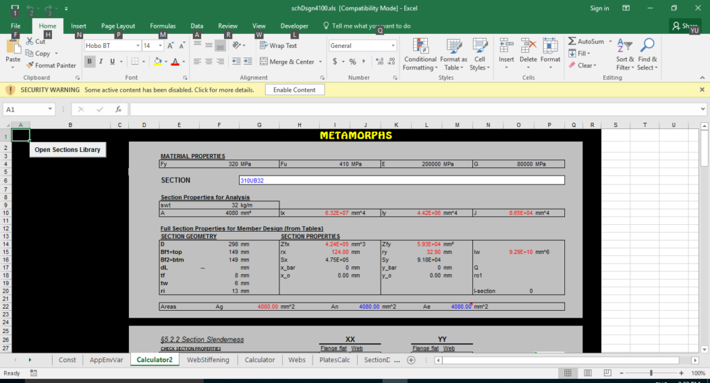 Enable the content of the spreadsheet
