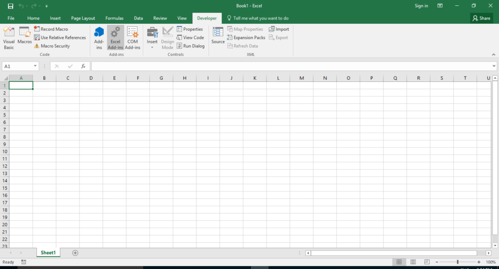 Developer Tab select Excel Add-in's