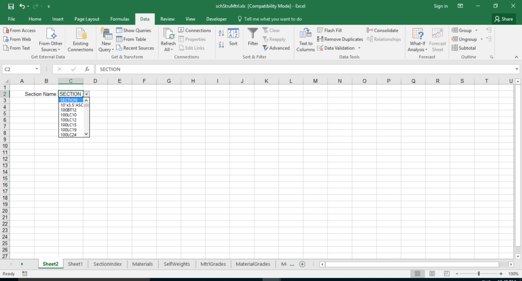 Drop down validation list created in materials workbook