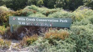 Wills Creek Conservation Park: Signage indicating very little is permitted in the Park