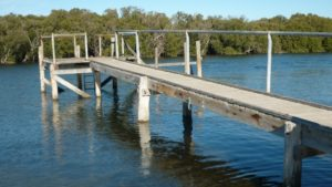 Existing Fishing Platform, note the single rail barrier, to one side of the walkway.