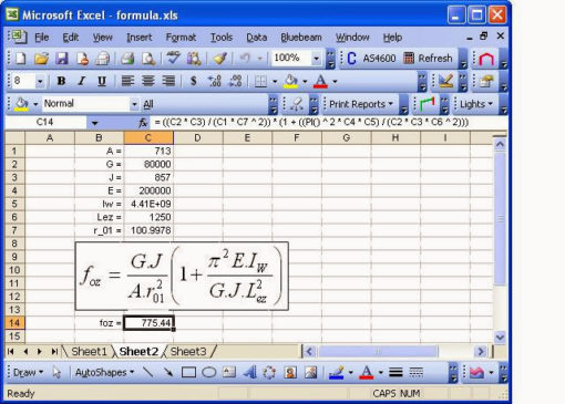 Formula Calculator MS Excel